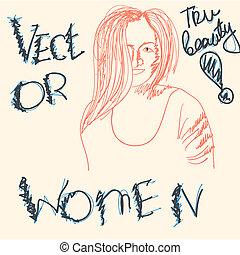 婦女, 矢量, 圖畫, 孩子