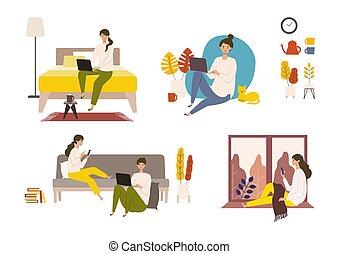 婦女, 矢量, 网, 插圖, 檢查, autumn., 人, 有, 天, 。, 放松, 人們