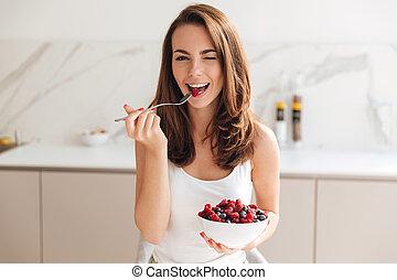婦女, 碗, 年輕, 頑皮, 藏品, 新鮮, 漿果