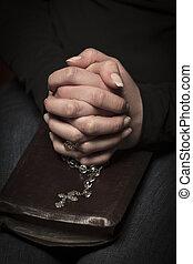 婦女, 祈禱, 由于, 橫貫, the, 聖經