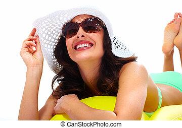 婦女, 穿墨鏡, 以及, a, hat.