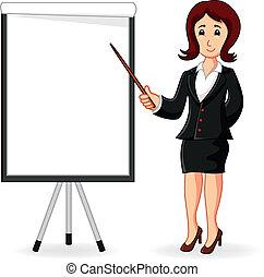 婦女, 站立, 藏品, a, 訓練