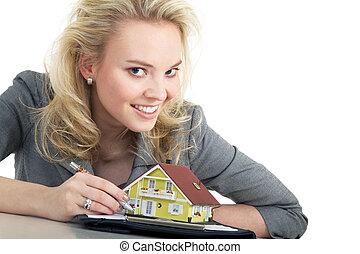 婦女, 簽署, 購買, 協議