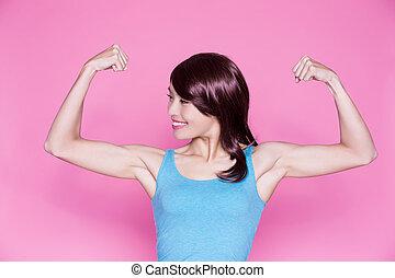 婦女, 給予, 強有力, 手臂