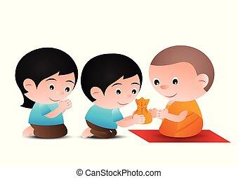婦女, 給, 提供, 僧侶, 版本, 設計, 卡通, 人