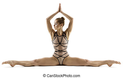 婦女, 練習, 体操運動員, 腿, 伸展, 年輕, 雜技演員, 腿, 背景, 健身, 體操, 女孩, 分裂, 白色, 坐, 分開