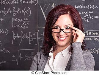 婦女, 老師, 在, 學校