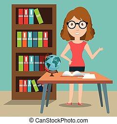 婦女, 老師, 在, the, 教室