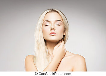 婦女, 背景, 灰色, 白膚金發碧眼的人, 矯柔造作, 純淨, 皮膚