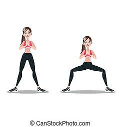 婦女, 腿, squats., butt., 做, 測驗, 練習
