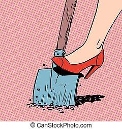 婦女, 花園, 家庭主婦, 鏟, 挖掘, 農夫, 工作, ar, 鞋子