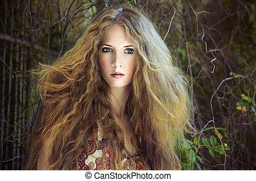 婦女, 花園, 年輕, 時裝, 肖像, 色情