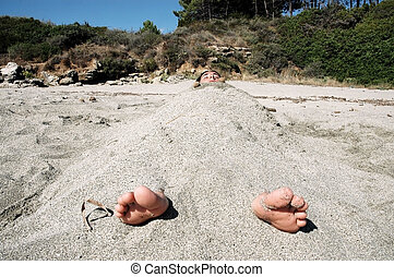 婦女, 蓋, 所作, 沙子, 在海灘上