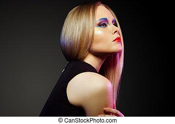 婦女, 藝術顏色, 向上, 臉, 關閉, 肖像