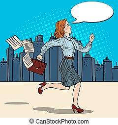 婦女, 藝術, 公文包, 事務, work., 流行音樂, 跑, 矢量, 插圖