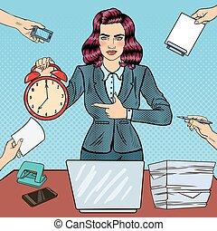婦女, 藝術, 辦公室, 事務, 鐘, 警報, 工作, laptop., 插圖, 矢量, 流行音樂, 藏品, 多任務