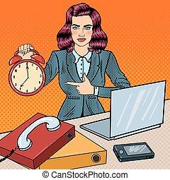 婦女, 藝術, 辦公室, 事務, 鐘, 警報, 工作, laptop., 插圖, 矢量, 流行音樂, 藏品
