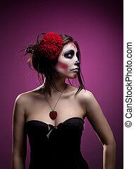 婦女, 藝術, 頭骨, 面罩, 年輕, 死, 臉, 天