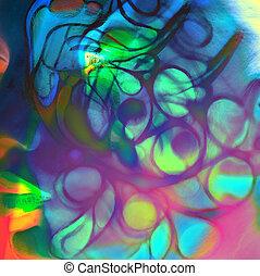 婦女, 藝術, 顏色, 向上, 臉, 關閉, 肖像