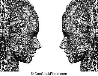 婦女, 藝術, 馬戲, 向上, 臉, 關閉, 肖像