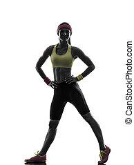 婦女, 行使, 健身, 測驗, 站立, 黑色半面畫像