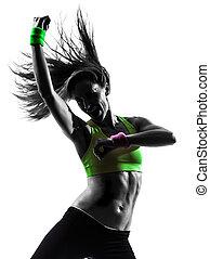 婦女, 行使, 健身, zumba, 跳舞, 黑色半面畫像