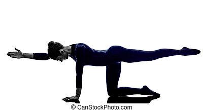 婦女, 行使, 平衡, 桌子, 姿態, 瑜伽, 黑色半面畫像