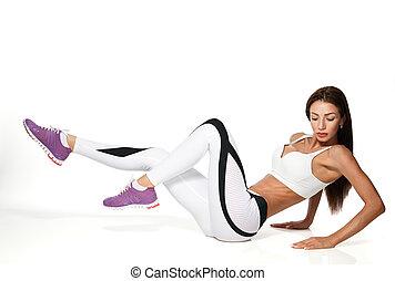 婦女, 行使, 腹部, 推, 向上, 姿勢, 被隔离, 在懷特上