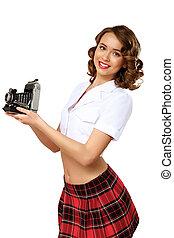 婦女, 被給穿衣, 在, retro風格, 由于, 照像機