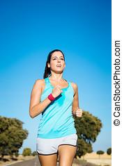婦女, 訓練, 為, 跑, 夏天, 馬拉松