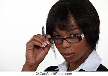 婦女, 誘人地, 移動眼鏡
