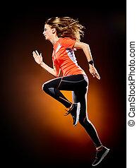 婦女, 賽跑的人, 跑, 慢跑者, 慢慢走, 被隔离