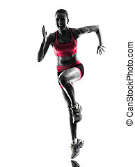 婦女, 賽跑的人, 跑, 慢跑者, 慢慢走, 黑色半面畫像