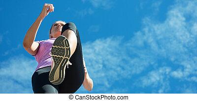 婦女, 賽跑的人, 跑, 為, 馬拉松, 跑