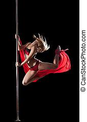 婦女, 跳躍, 在期間, 桿, 跳舞, 由于, 織品