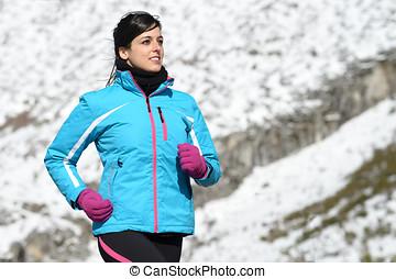 婦女, 運動員, 冬天, 跑