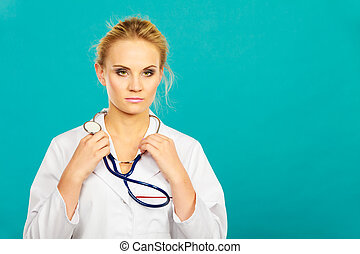 婦女, 醫學的醫生, 由于, 聽診器