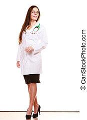 婦女, 醫學的醫生, 由于, stethoscope., 保健