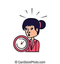 婦女, 鐘, 事務, 時間