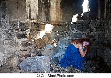 婦女, 隱藏, 毀滅, 建築物