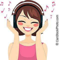 婦女, 音樂, 耳機