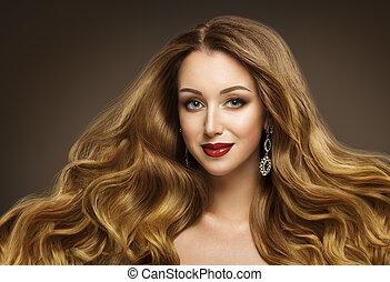 婦女, 頭髮, 時髦模型, 發型, 長, 招手, 頭髮麤毛交織物風格, 女孩, 美麗, 臉