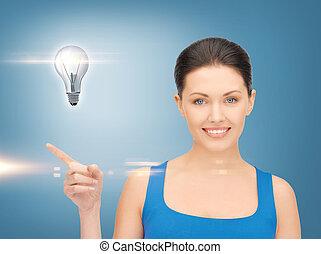 婦女, 顯示, 燈泡, 上, 她, 手