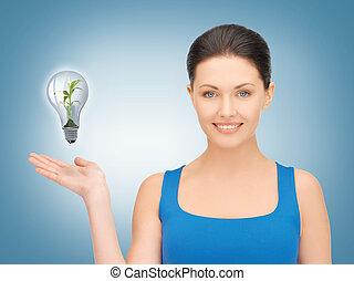 婦女, 顯示, 綠燈, 燈泡