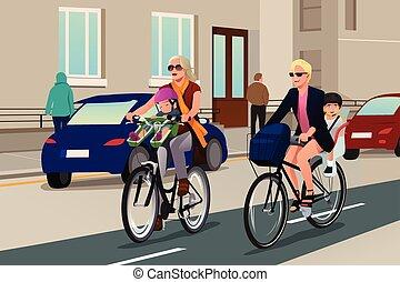 婦女, 騎車, 由于, 他們, 孩子