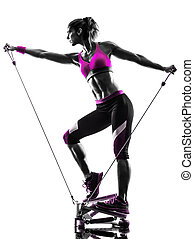 婦女, 黑色半面畫像, 帶子, 步驟, 抵抗, 健身, 鍛煉