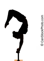 婦女, 黑色半面畫像, 體操, 實踐, contortionist, 瑜伽, 高加索人