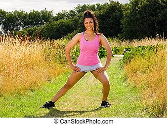 婦女, exercising.