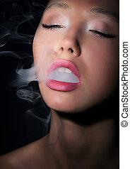 婦女, exhales, 吸煙者, dependence., 香煙, 煙, addiction.
