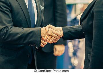 婦女, handshake., 商業手, 商人, 振動